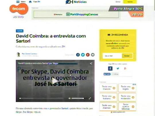 TVCOM 20 Horas - Governador José Ivo Sartori admite que vai privatizar estatais para enfrentar a crise - 03/07/2015