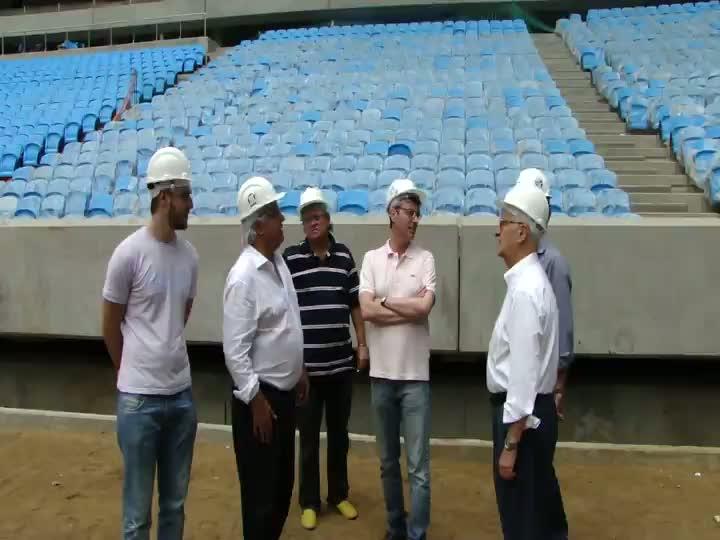 Confira a visita dos integrantes do programa Sala de Redação na Arena do Grêmio