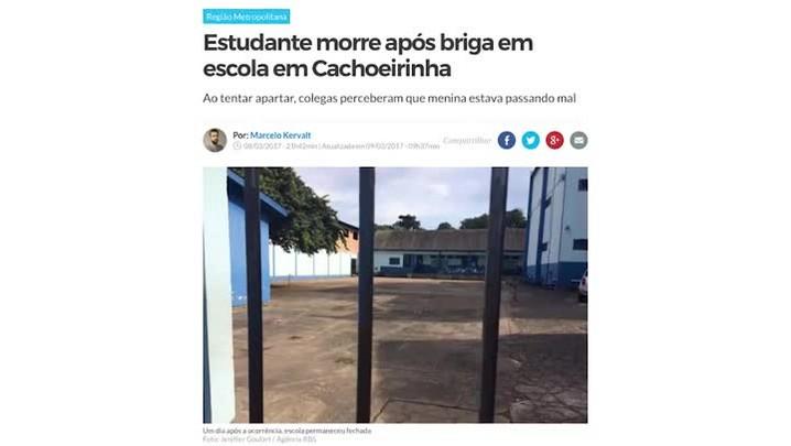 Adolescente de 14 anos morta em escola de Cachoeirinha é velada