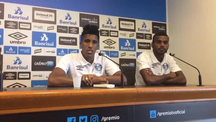 Cortez e Leonardo dão coletiva no Grêmio