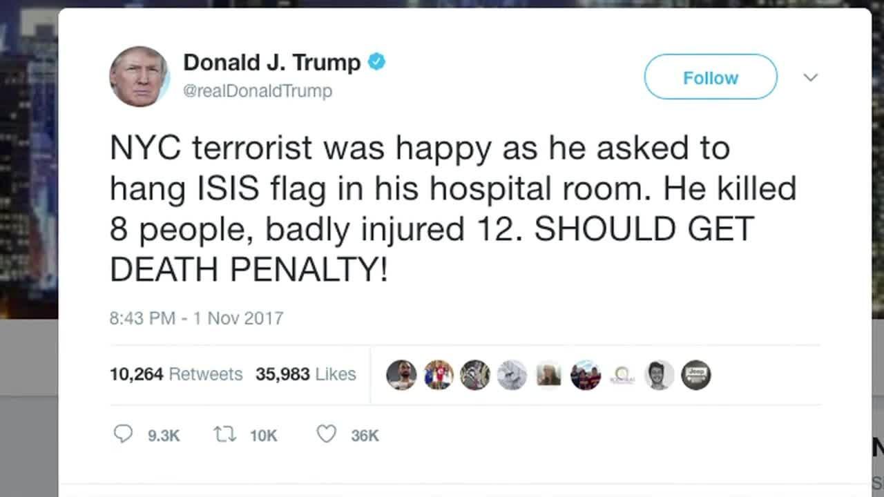 Trump quer pena de morte para autor de atentado