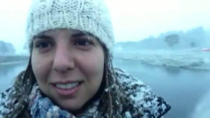 Repórter registra amanhecer com neve em São José dos Ausentes