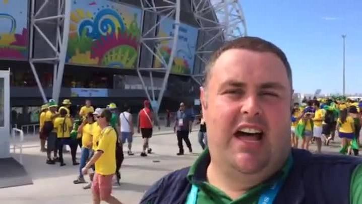 Gigante na Copa: Torcedores brasileiros e colombianos confiantes para a partida