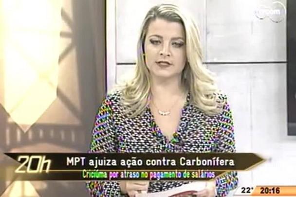 TVCOM 20 Horas - MPT ajuiza ação contra Carbonífera Criciúma por atraso no pagamento de salários - 06.05.15