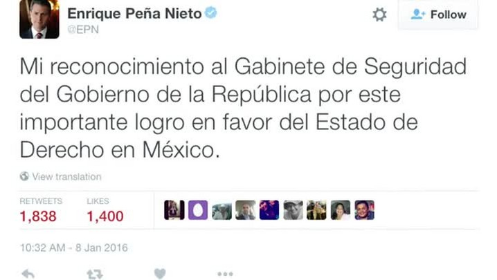 México anuncia captura de El Chapo