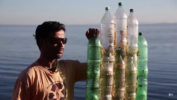 Remada com garrafa pet