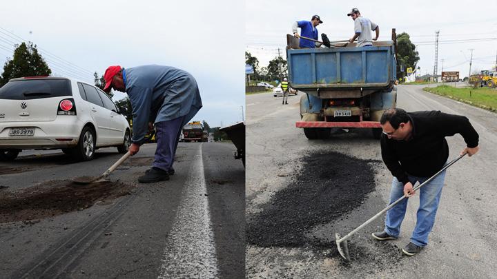 Com carrinho de mão ou caminhão de asfalto, caxienses tapam buracos