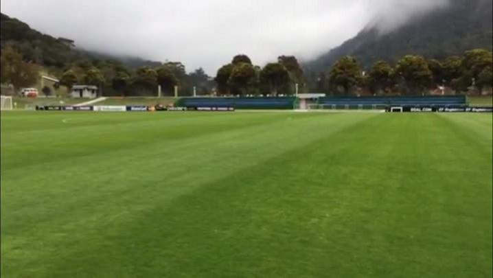 Poupados do amistoso contra o Panamá, Thiago Silva, Fernandinho e Paulinho treinam na Granja Comary. 03/06/2014