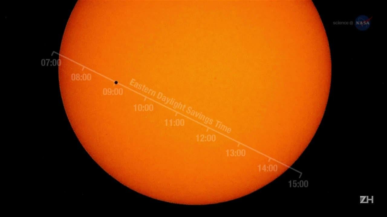 Mercúrio passa diante do Sol