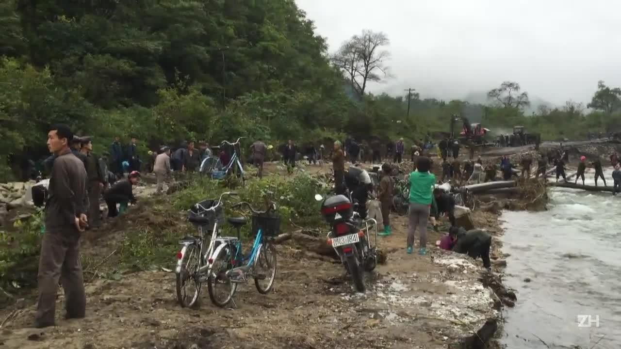Inundações causam destruição na Coreia do Norte