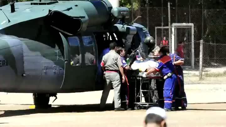 Helicóptero chega à Capital para deixar feridos do incêndio