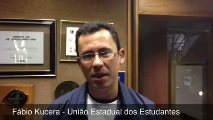 Diretor da União Estadual dos Estudantes, Fábio Kucera. 05/06/2013