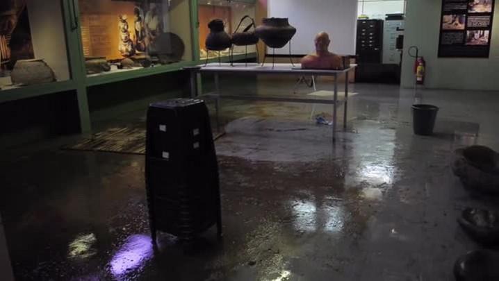 Enchente no Museu Arqueológico de Sambaqui de Joinville.