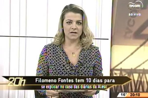 TVCOM 20 Horas - Filomeno Fontes tem 10 dias para se explicar no caso das diárias da Alesc - 24.06.15