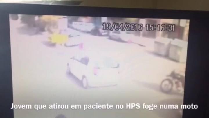 V�deo mostra fuga de criminoso ap�s tiroteio no HPS