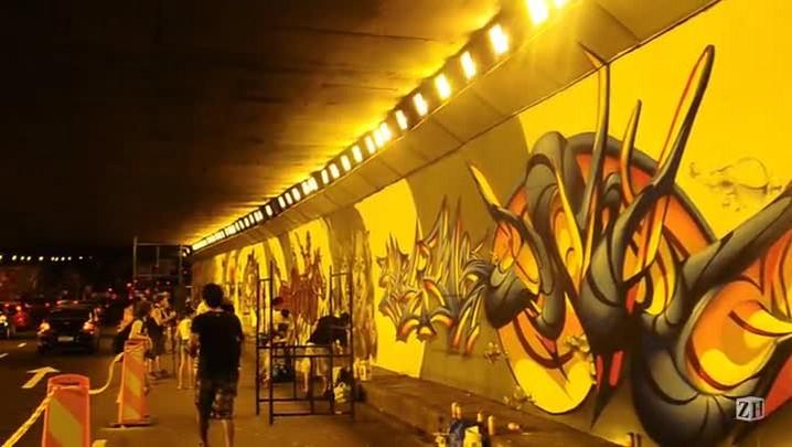 Sessenta grafiteiros transformaram o Túnel da Conceição