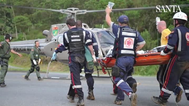 Reencontro entre vítima, bombeiro e médico