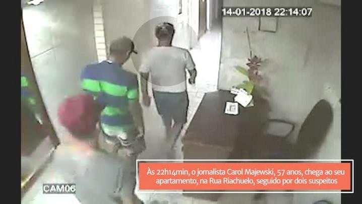 Imagens mostram jornalista morto e suspeitos chegando juntos ao local do crime