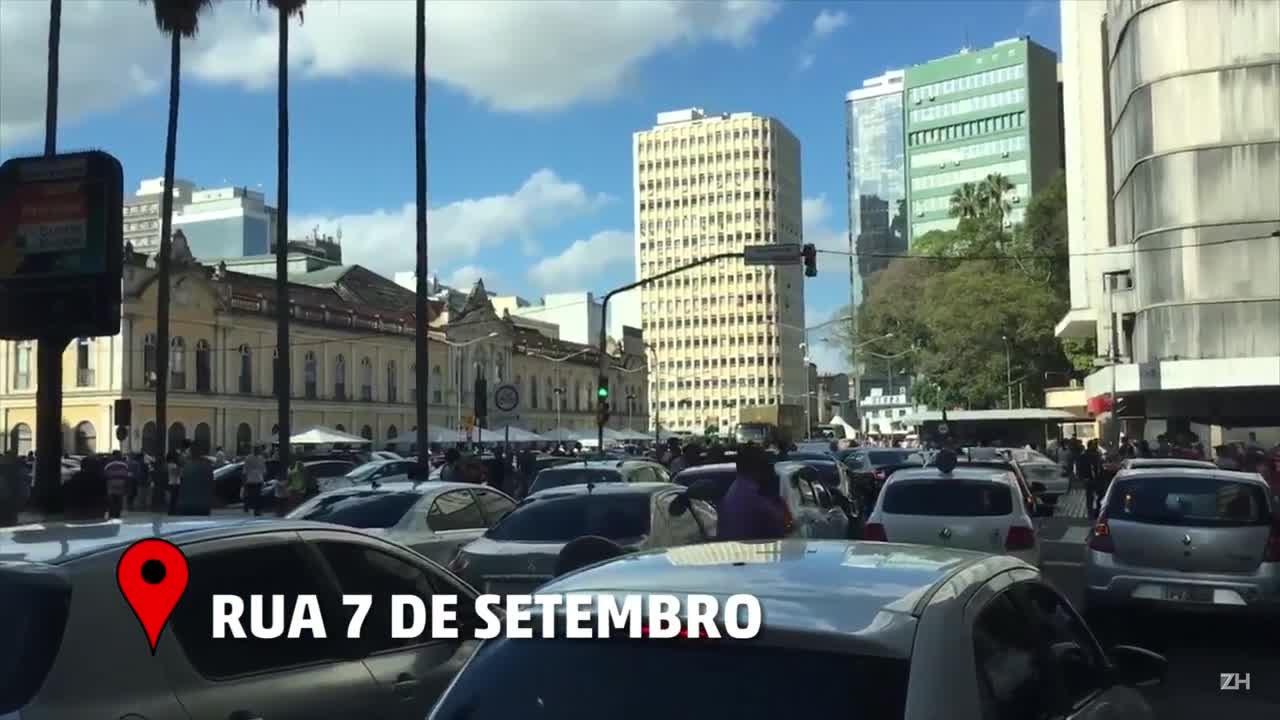 Veja como foi o protesto de motoristas do Uber em Porto Alegre