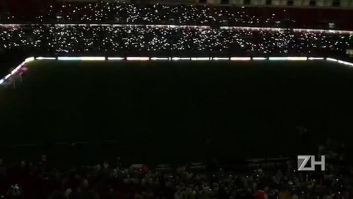 Show de luzes no intervalo de Brasil x Honduras
