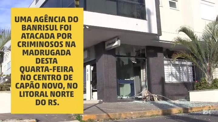 Criminosos explodem agência bancária em Capão Novo