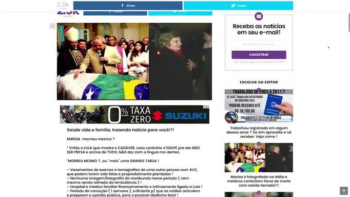 Site usa foto de 2005 para dar notícia falsa de que Marisa Letícia estaria viva e teria fugido para a Itália