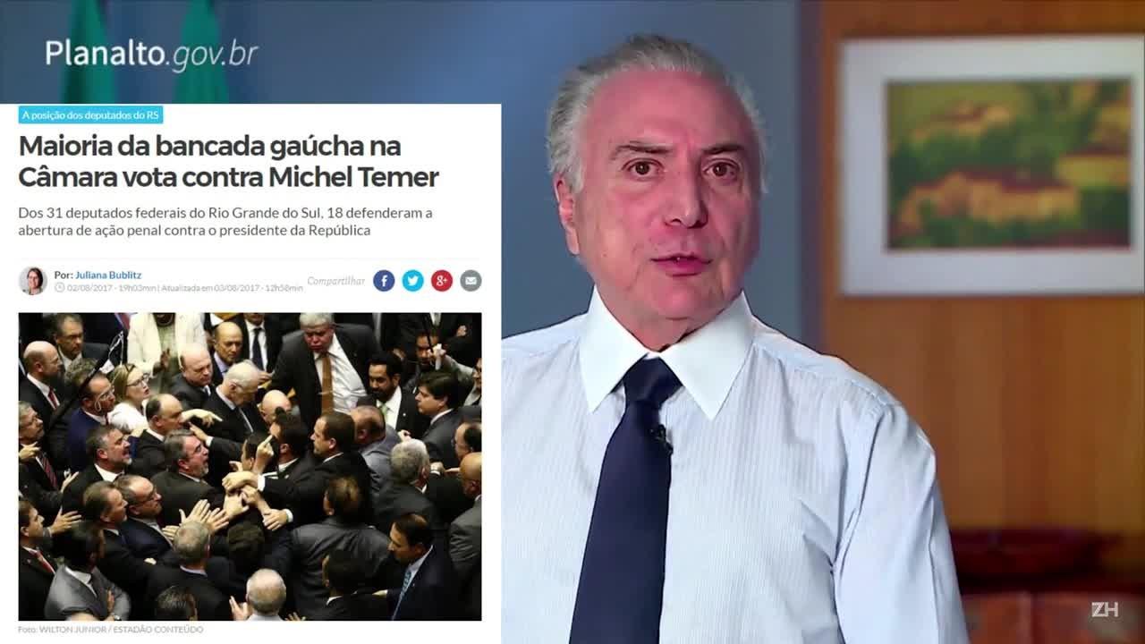As justificativas dos deputados gaúchos ao votarem sobre a denúncia contra Temer