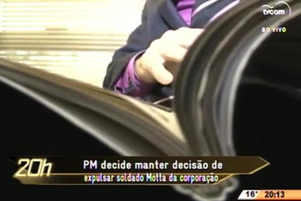 TVCOM 20 Horas - Polícia Militar decide manter decisão de expulsar soldado Motta da corporação - 24.07.15