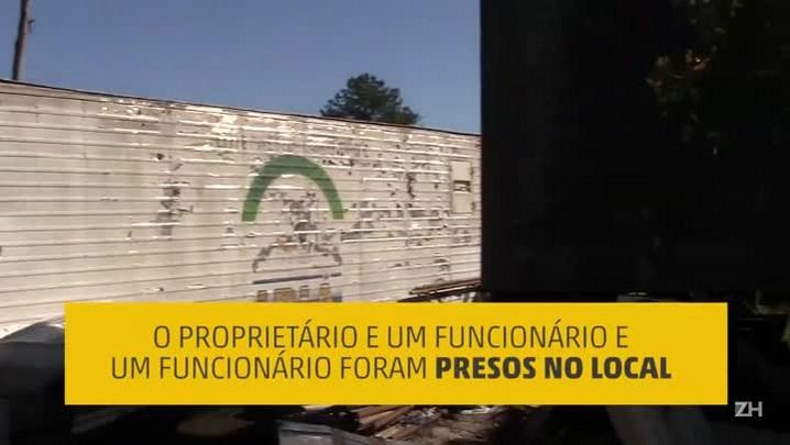 Polícia encontra depósito de desmanche de caminhões roubados em Guaíba