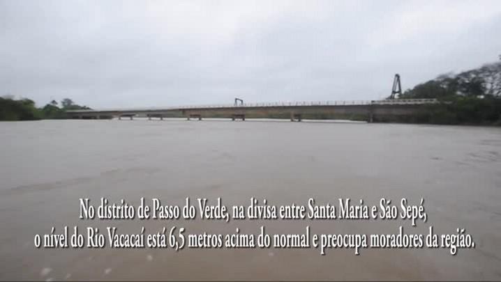 Rio Vacacaí está 6,5 metros acima do normal