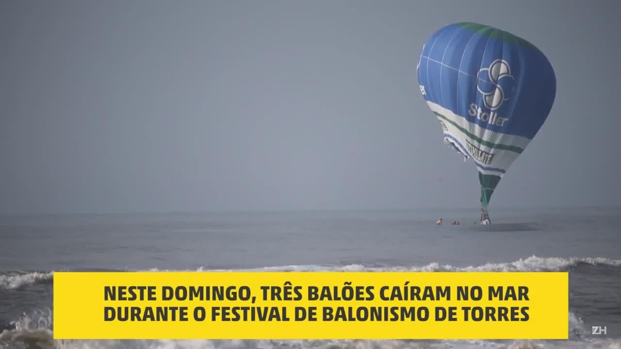 Balões caem ao mar durante Festival de Balonismo de Torres