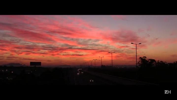 Imagens do sol nascendo em Porto Alegre