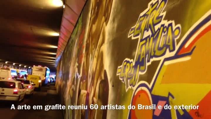 Túnel da Conceição é pixado após grafitagem - 21/03/2014