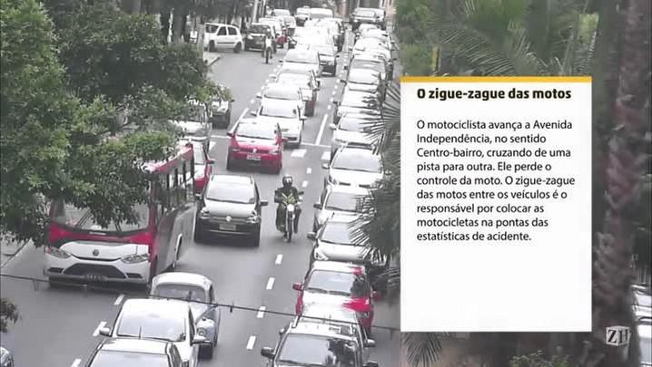 Infrações de trânsito: zigue-zague de motocicletas