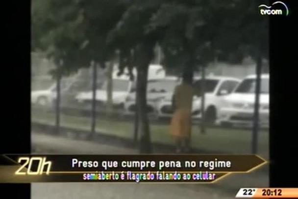 TVCOM 20 Horas - Preso que cumpre pena no regime semiaberto é flagrado falando ao celular - 06.05.15