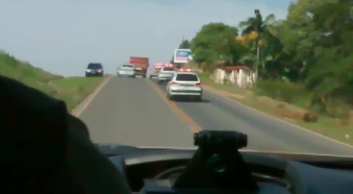 Flagrante de perseguição na BR 101 em Jaguaruna