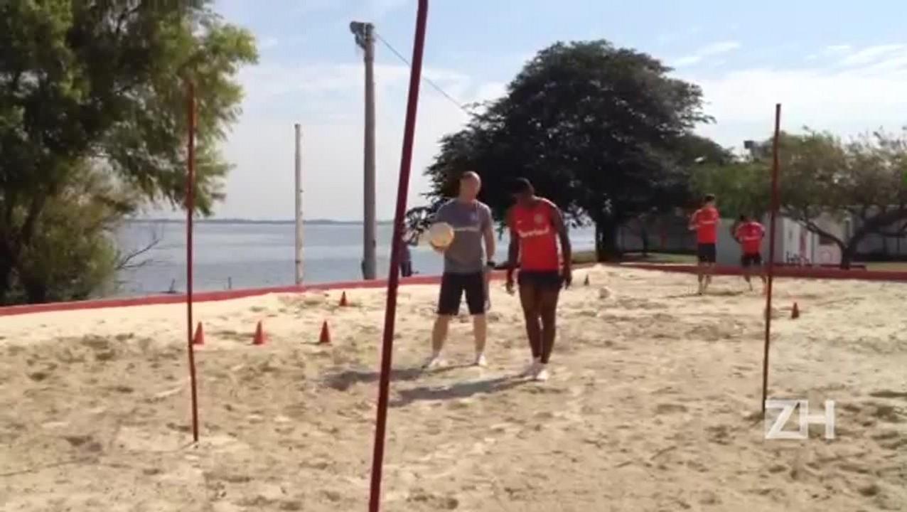 Wellington Martins treina na caixa de areia