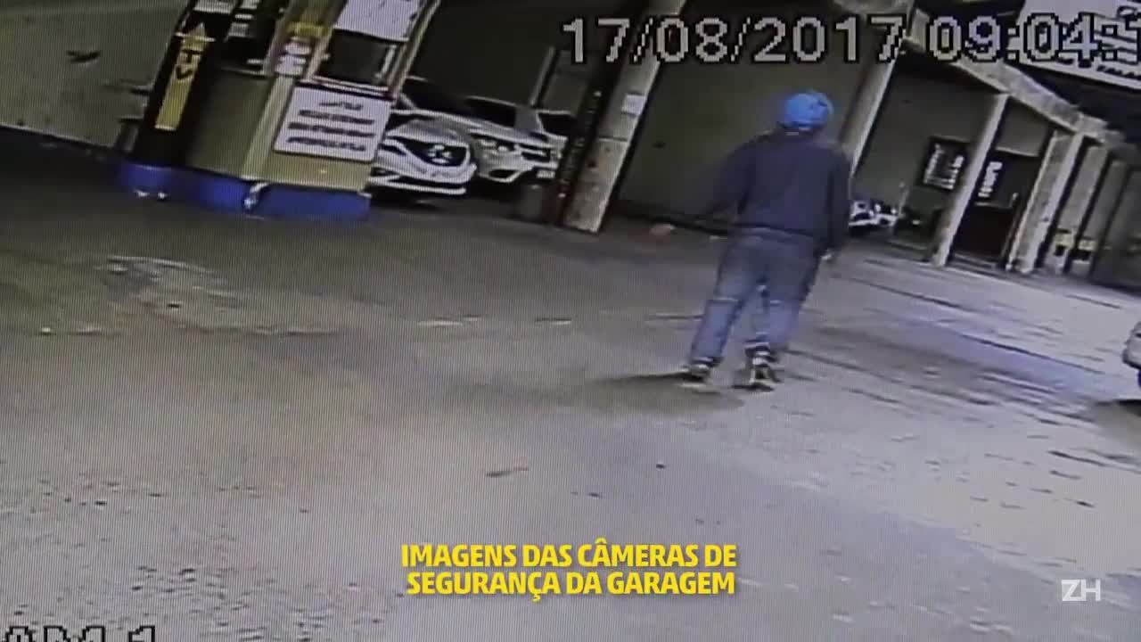 Câmeras flagram momento em que homem esfaqueado cai dentro de estacionamento