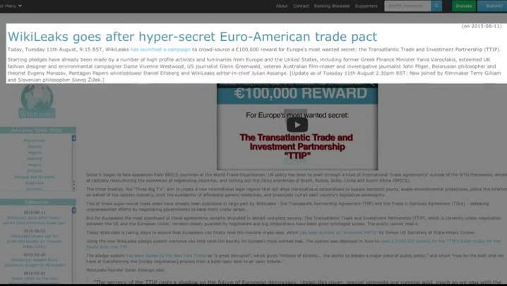 WikiLeaks lança campanha sobre acordo entre UE e EUA