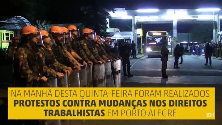 Manhã de protestos em Porto Alegre