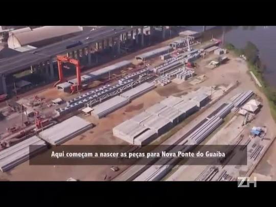 Maior parte da estrutura da nova ponte é construída em canteiros de obras